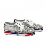 Дамски обувки от естествена кожа бели с перфорация - 38