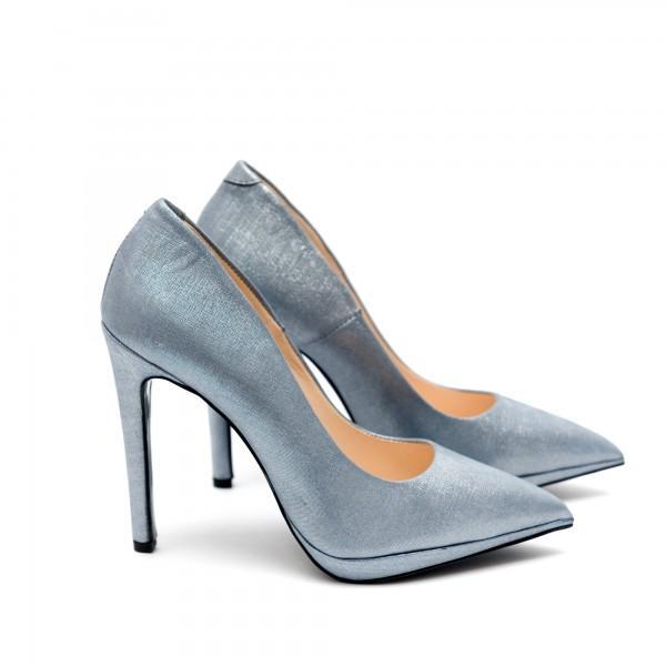 Дамски елегантни обувки от естествена кожа с ток - 44