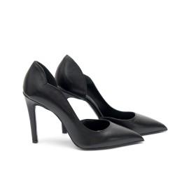 Дамски елегантни обувки от естествена кожа черни - 170