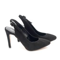 Дамски обувки с ток от естествен велур - 107