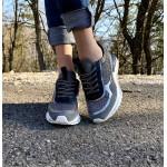 Пролетни дамски маратонки от естествена кожа в сива кожа и велур-1219