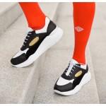 Дамски пролетни маратонки от естествена кожа в комбинация -бяло,черно и жълто-1176