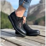 Черни дамски обувки от естествена кожа с връзки-277