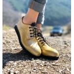 Дамски ежедневни обувки от естествена кожа с връзки и дантела в жълто-1175
