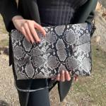 Дамска чанта тип клъч със змийски принт от еко кожа-1162