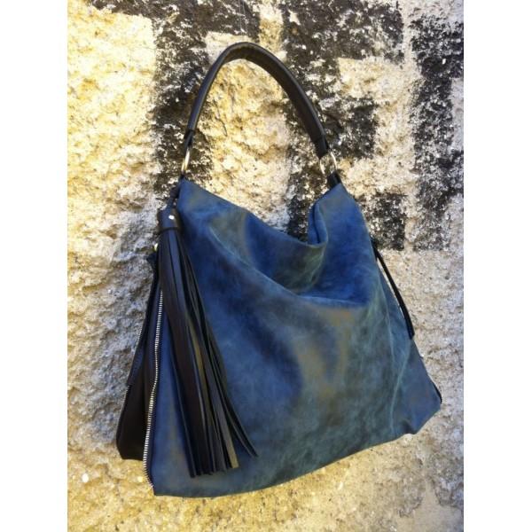 Дамска чанта от еко кожа синя - 1205