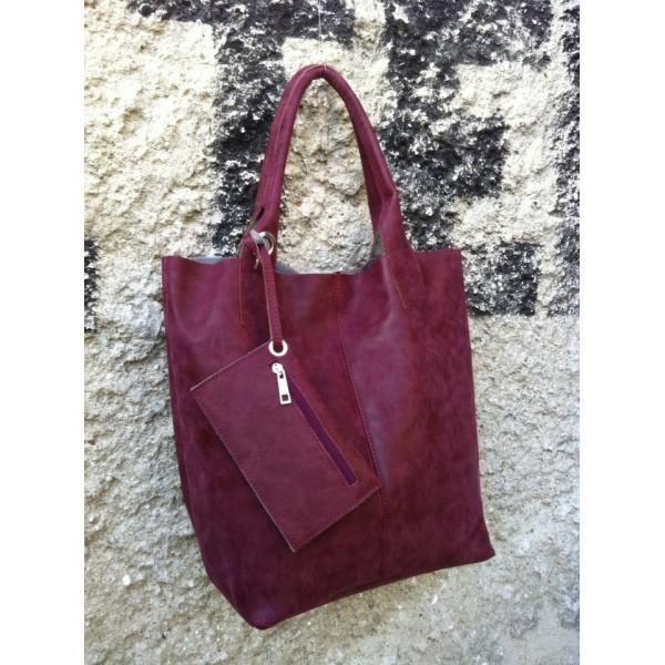 Дамска  чанта от еко кожа в бордо - 1199
