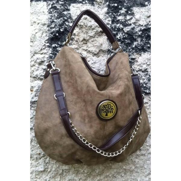 Дамска чанта от еко кожа бежова - 100