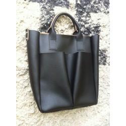Дамска ежедневна чанта от еко кожа черна - 154