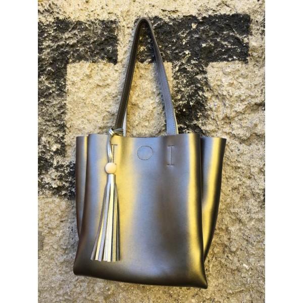 Дамска чанта от еко кожа сребриста - 1219