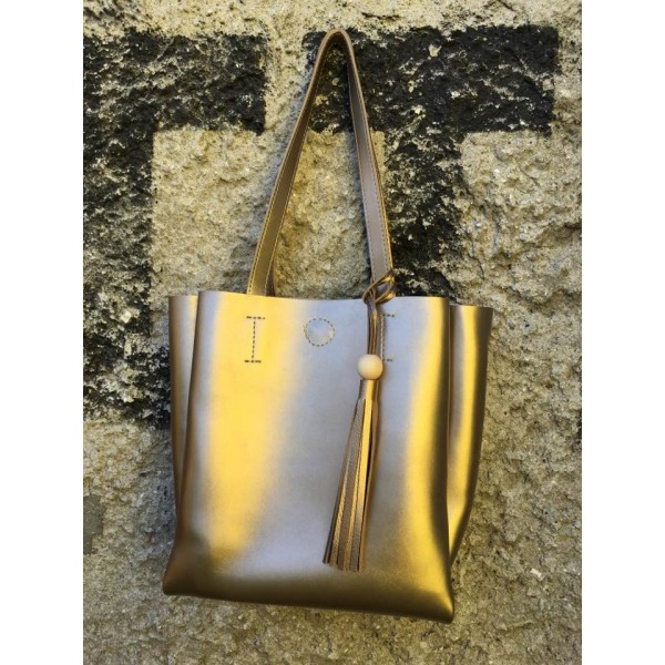 Дамска ежедневна чанта от еко кожа златиста - 147