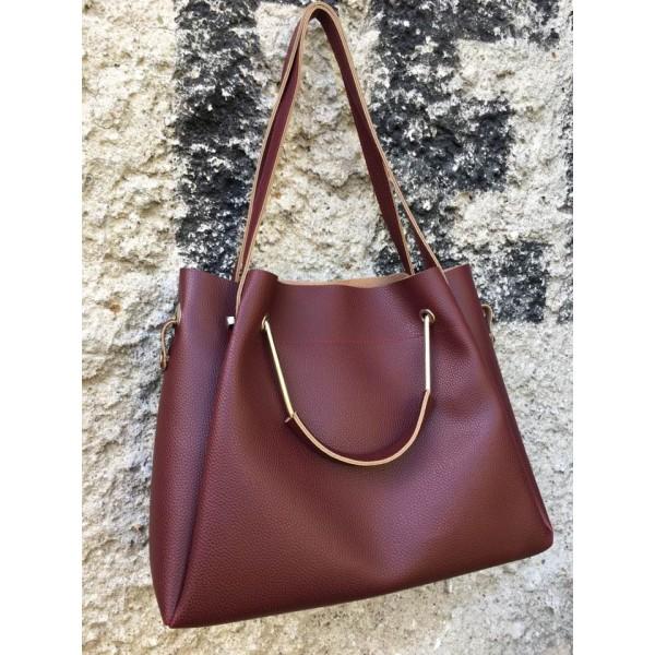 Дамска ежедневна чанта от еко кожа бордо - 99