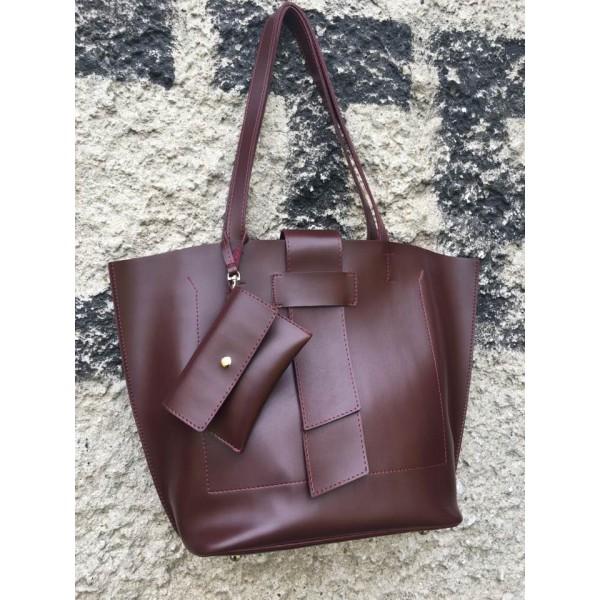 Дамска чанта еко кожа бордо - 256