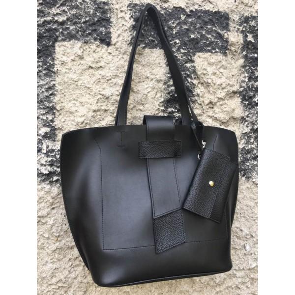Дамска ежедневна чанта от еко кожа черна - 1229