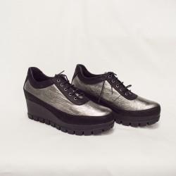 Дамски обувки от естествена кожа черни+сребро на платформа - 2