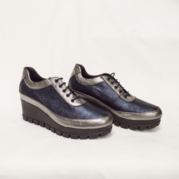 Дамски обувки от естествена кожа на платформа -2