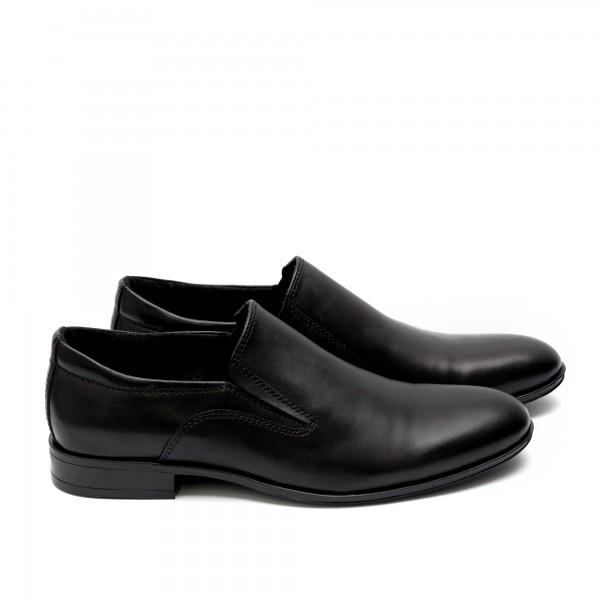 Мъжки елегантни обувки от естествена кожа черни - 61