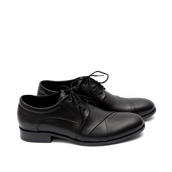 Мъжки елегантни обувки от естествена кожа черни с връзки - 45