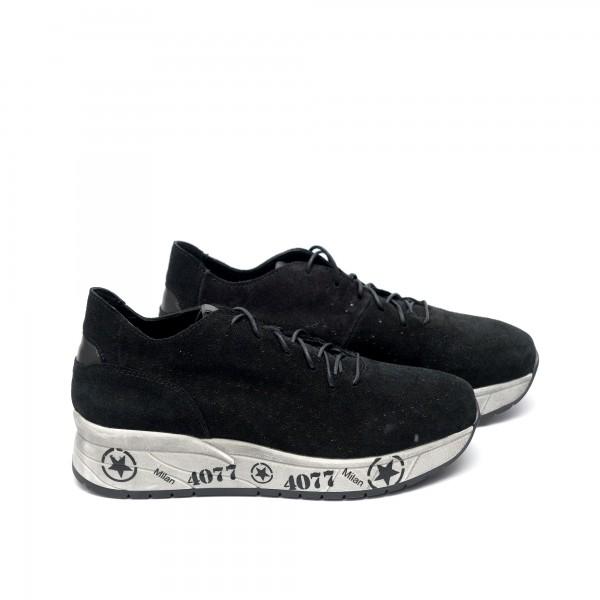 Мъжки спортни обувки от естествен велур черни с връзки - 59