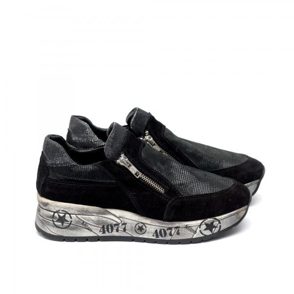 Дамски спортни обувки от естествен велур черни - 57