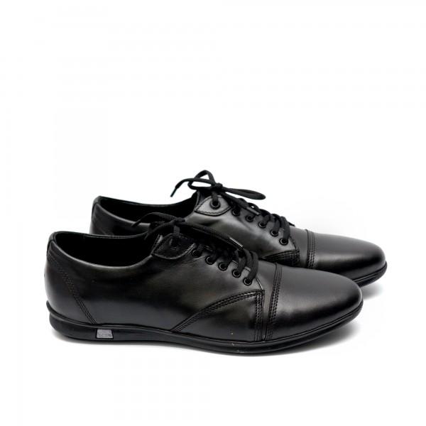 Мъжки  обувки от естествена кожа черни с връзки - 126