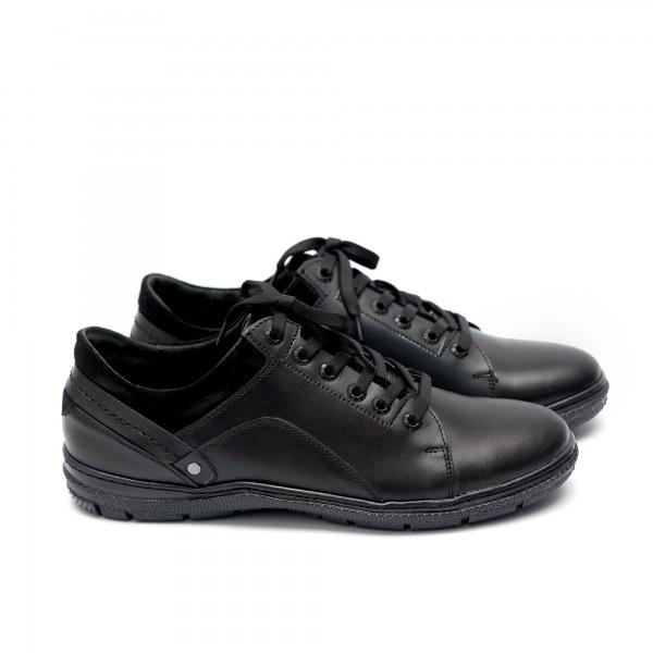 Мъжки ежедневни  обувки от естествена кожа черни - 160