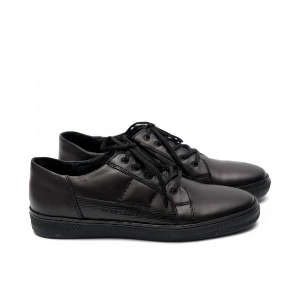 Мъжки ежедневни  обувки от естествена кожа черни - 164