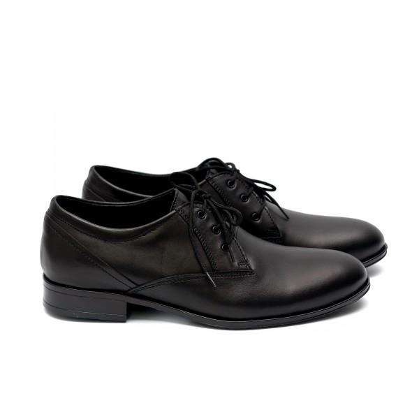 Мъжки  обувки от естествена кожа черни с връзки - 165