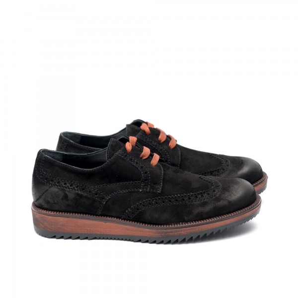 Мъжки обувки от естествен велур черни -194