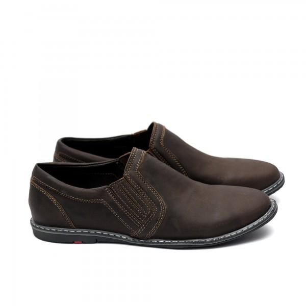 Мъжки  обувки от естествена кожа кафяви - 166