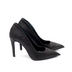 Дамски елеганти  обувки от естествена кожа черни с ток - 259