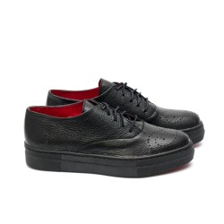Дамски ежедневни обувки от естествена кожа черни с връзки - 347