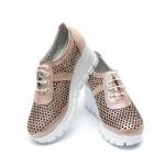 Дамски обувки от естествена кожа розови с перфорация на платформа - 219