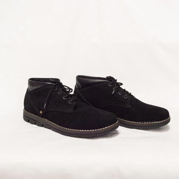 Мъжки обувки естествен велур черни -124