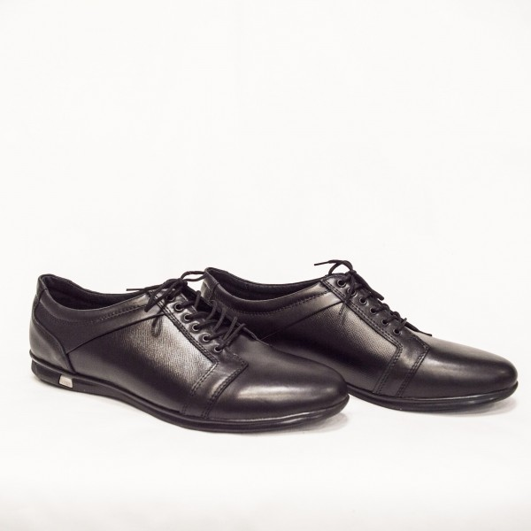 Мъжки  обувки от естествена кожа черни с връзки - 157