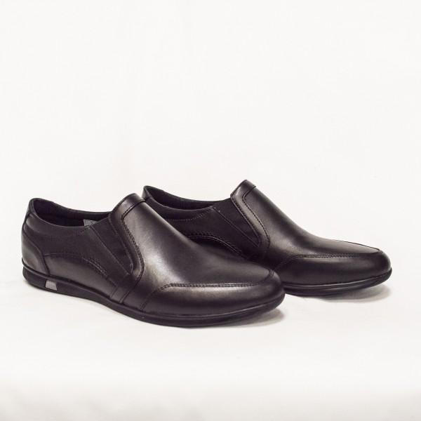 Мъжки ежедневни  обувки от естествена кожа черни с ластик - 158