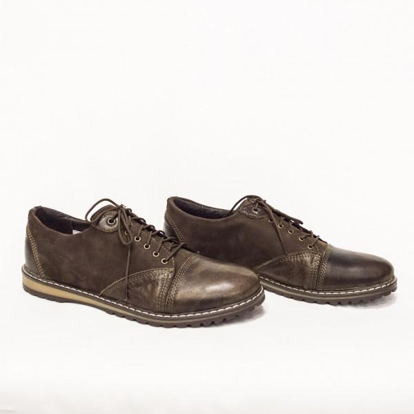 Мъжки  обувки от естествен набук и естествена кожа кафяви с връзки - 47