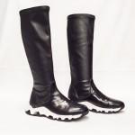 Дамски ежедневни ботуши от естествена кожа черни - 138