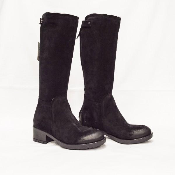 Дамски ботуши от естествен велур черни - 242