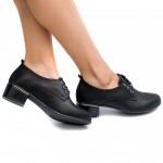 Черни ежедневни дамски обувки с нисък ток от естествена кожа-1804