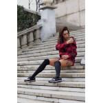 Дамски спортни обувки от естествена кожа в черно и сребристо с връзки и капси-717