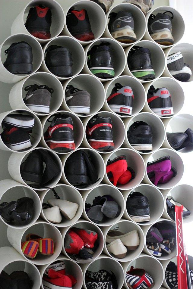 Рафт за обувки от PVC тръби